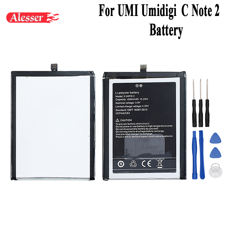 Alesser For UMI Umidigi C Note 2 Battery 4000mAh 100% New Replacement Accessory Accumulators For UMI Umidigi C Note 2 +ToolsAlesser For UMI Umidigi C Note 2 Battery 4000mAh 100% New Replacement Accessory Accumulators For UMI Umidigi C Note 2 +Tools
