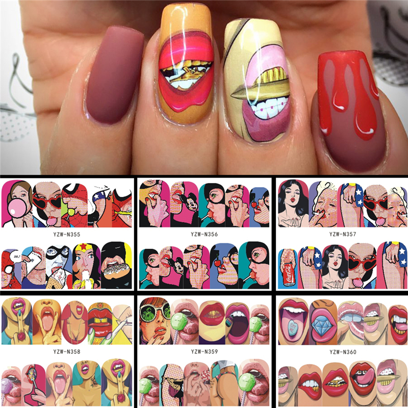 6 Designs In 1 Nail Sets Fashion Sticker Full Cover Lips Cute Printing Water Transfer Tips Nail Art Decorations 2020 New