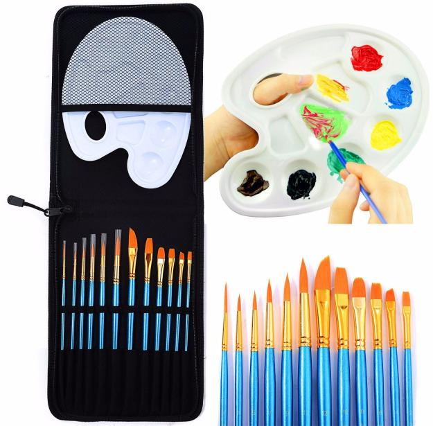12 Piece Acrylic Watercolor Painting Brushes Set With Zip Case Paint Palette
