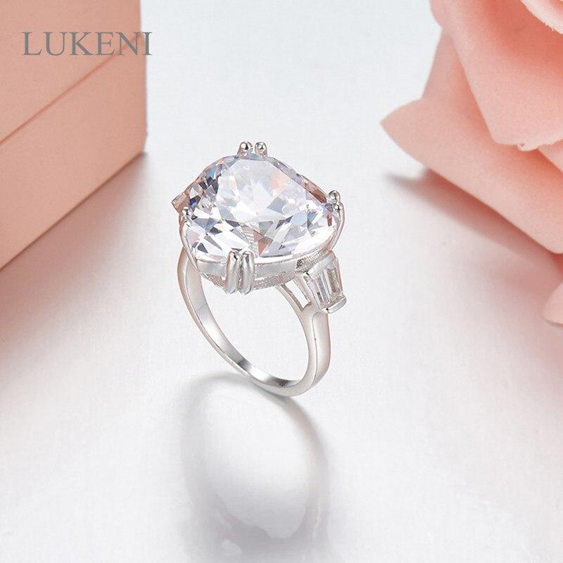 LUKENI Nouvelle Conception Romantique De Mode Femmes S925 Sterling Argent Inlay Zircon Classique Coeur Anneaux Bijoux Accessoires
