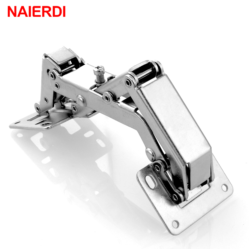 NAIERDI 165/170/175 Degree Hinge No-Drilling Hole Spring Angle Hinges For Cabinet Cupboard Door Thick Board Furniture Hardware 3 inch 90 degree not drilling hole cabinet furniture hinges bridge shaped spring frog hinge full overlay cupboard door hinges