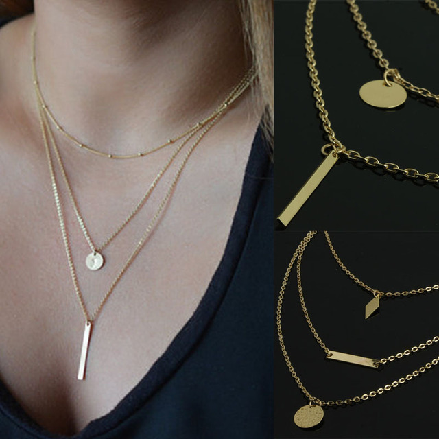 2015 Women New Initial lariat multi layer necklace gold Sexy  Cheap Jewelry Pendant Thin Necklace