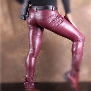 Image 2 - סקסי גברים פו עור Pu מט מבריק אופנה מכנסיים תפקיד גברים X רך סקיני הומו מכנסיים רוכסן פתוח מכנסי עיפרון הומו ללבוש FX130