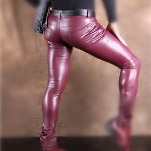 Image 2 - Sexy Men Faux Leather Pu Matte Shiny Fashion Pants Role Men X Soft Skinny Gay Pants Zipper Open Pencil Pants Gay Wear FX130