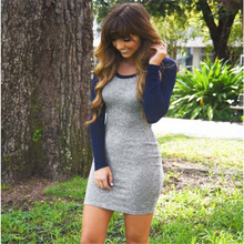 2017 Newest Grey and Blue Long Sleeve Color Block Round Neck Bodycon Dress DR241
