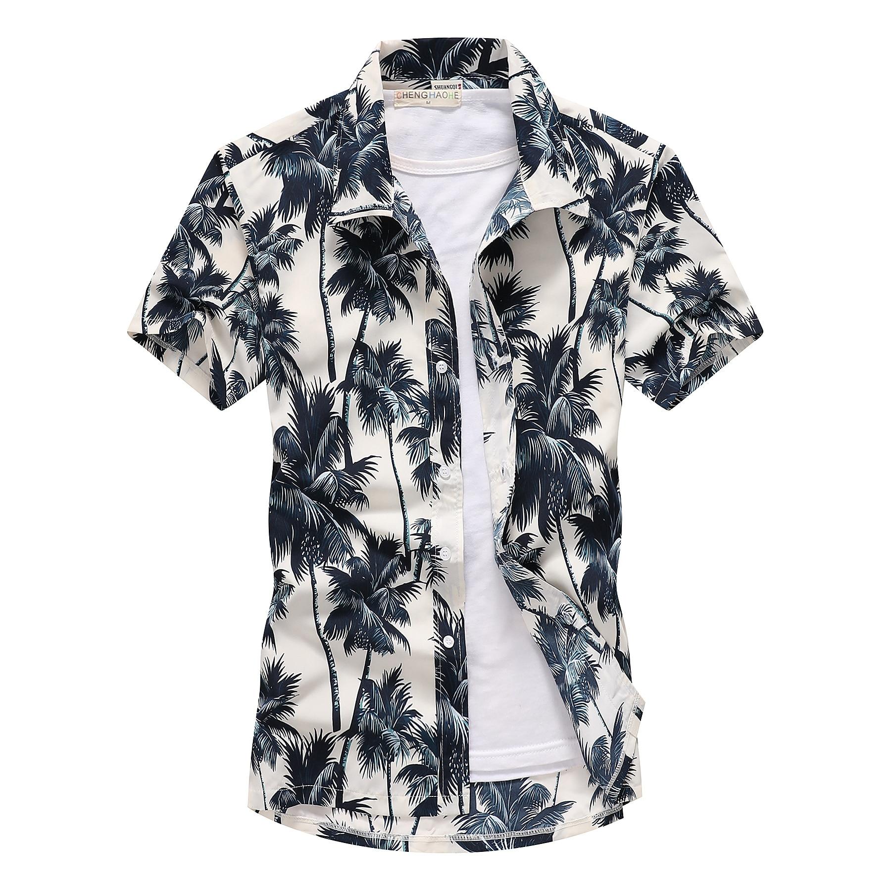 Beach Shirts Summer Fashion Camisa Masculina Coconut Tree Printed Short Sleeve Button Down Hawaiian Shirts Mens Plus Size