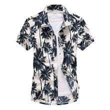 Beach Shirts 2019 Summer Fashion camisa masculina Coconut Tree Printed Short Sle