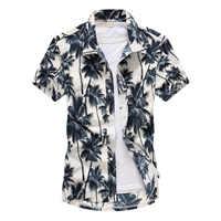 Camisas de playa 2019 moda de verano camisa masculina de coco árbol impreso Botón de manga corta abajo camisas hawaianas para hombre talla grande