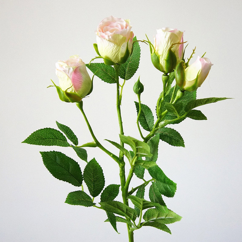 Silk Rose Artificial Flowers With 4 Heads Long Stem Plastic Branches For Wedding Hotel Decor 2