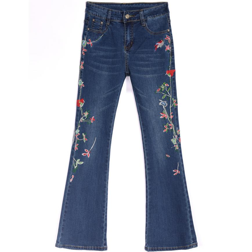 9xl Stretch embroidery flowers   jeans   large size mid waist long trousers flare pants