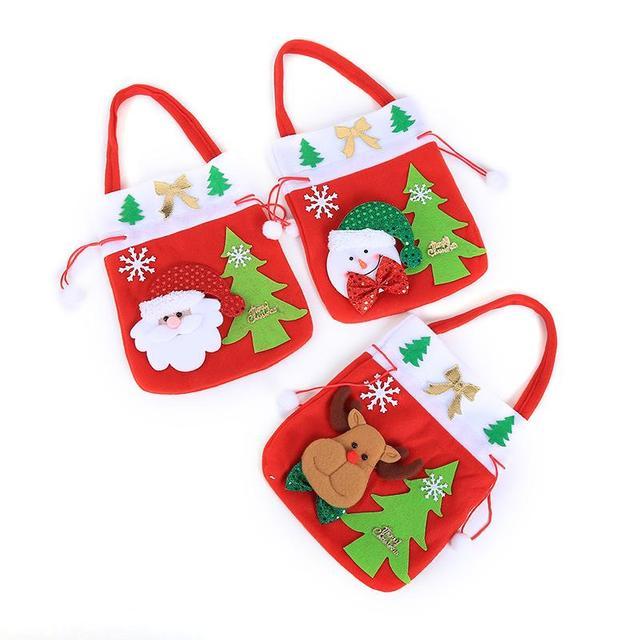 2018 Christmas Tree Santa Claus Snowman Deer Pattern Red Candy Bag Handbag  Home Party Decorations Christmas 7762cd057d20f