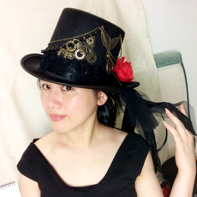 Diy Gothic Victorian Steampunk Black Top Hat For Male Female In