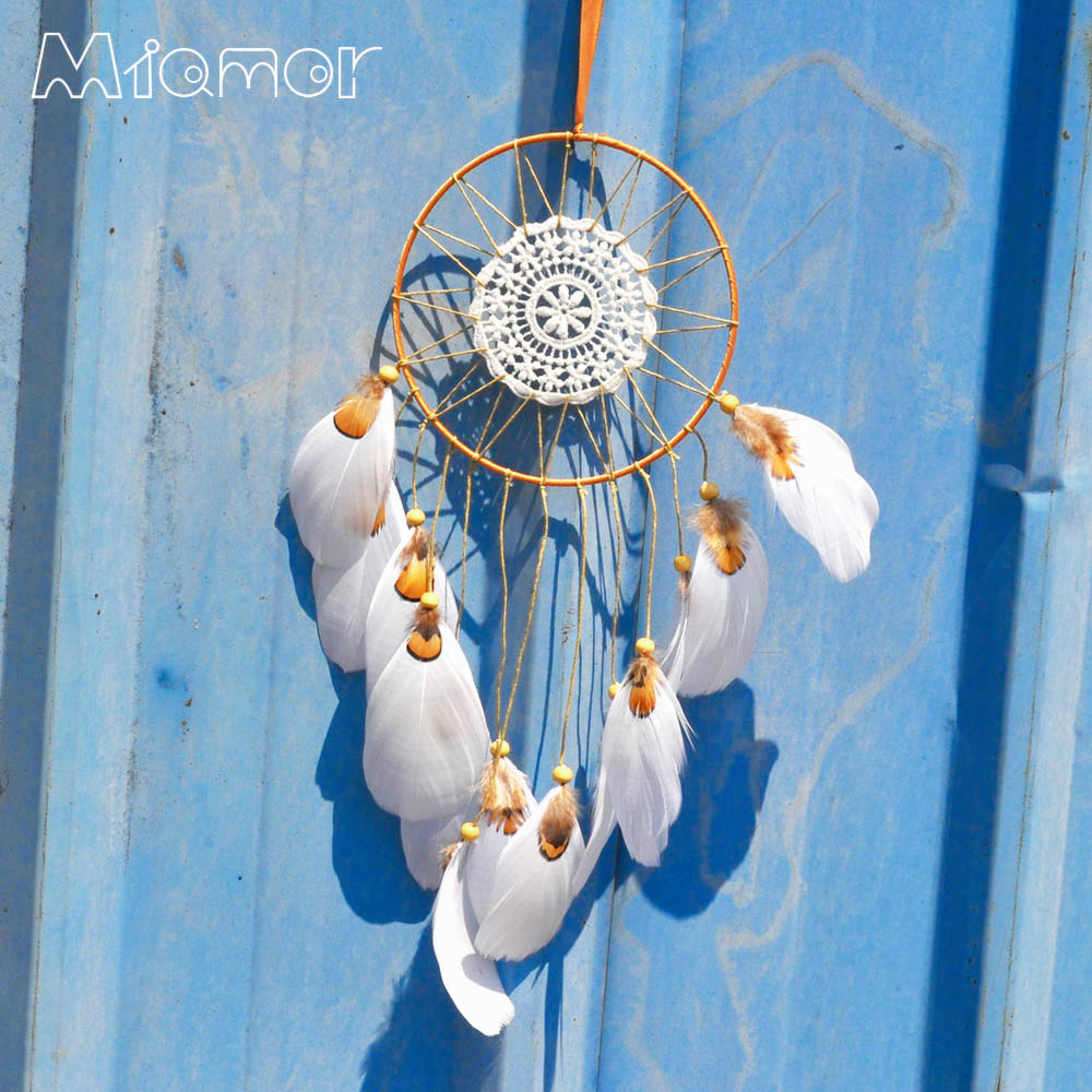 White & Gold Lace Dreamcatcher & Wind Chimes Indian Style Wall Hanging Decor Feather Pendant Gift Dream Catcher Regalo Amor0072