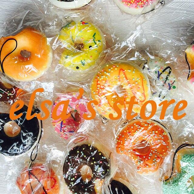 imágenes para Al por mayor blandos 20 unids lot donut blando lindo para el teléfono móvil correa encanto del teléfono celular squishies kawaii minicraft envío gratis