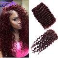 Cheap Brazilian Hair Extension 3pcs lot deep Wave Hair Deep Wine  Red 99j# Mix 100% Human Hair Weave Lace Closure