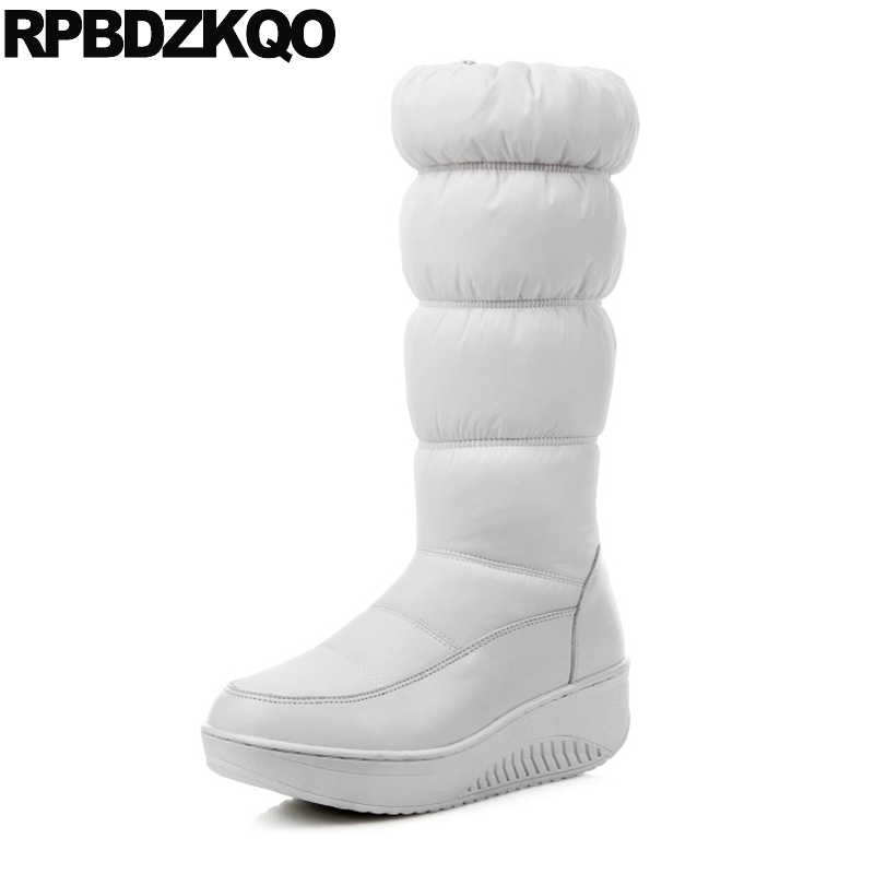 Women Winter Blue White Platform Boots Waterproof 2017 Shoes Ladies Big Size 12 44 Wedge 11 Mid Calf 10 Elevator Snow Tall Down