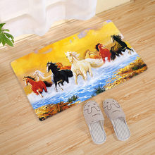 3D Print Horse Doormat Floor Mat Modern Simple Bathroom Kitchen Carpet Anti-slip Outdoor Rug Livingroom Home Decor Craft