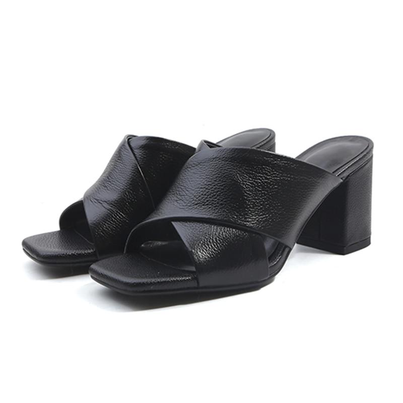Beige da Slides Fashion di Casual Toe Nero 2018 mulo Scarpe Pantofole con mucca Tacchi Wetkiss Giallo Donna alti Open Pelle Cross link Donna 8xqwARf
