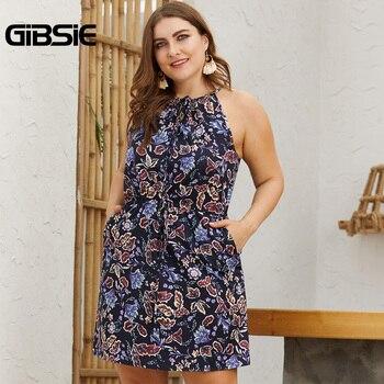 GIBSIE Plus Size Tie Neck Print Bodycon Short Dress For Women 2019 Summer Casual Pocket Sleeveless Halter Mini Dresses