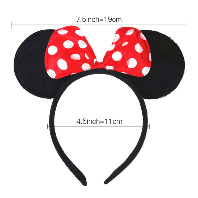 Children Black Red Minnie Mouse Ears Hairband for Girls Dance Party White Dot Bows Headband Photography Props Hair Accessories