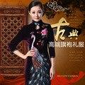 2016 Luxo Bordados À Mão Mãe Vestido Longo Pavão de Veludo Cheongsam Alta-grau Vestidos de Casamento Qipao Chinês Para As Mulheres