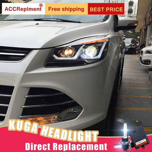 2pcs Led Headlights For Ford Escape 2017 Car Lights Angel Eyes Xenon Hid Kit Fog Daytime Running
