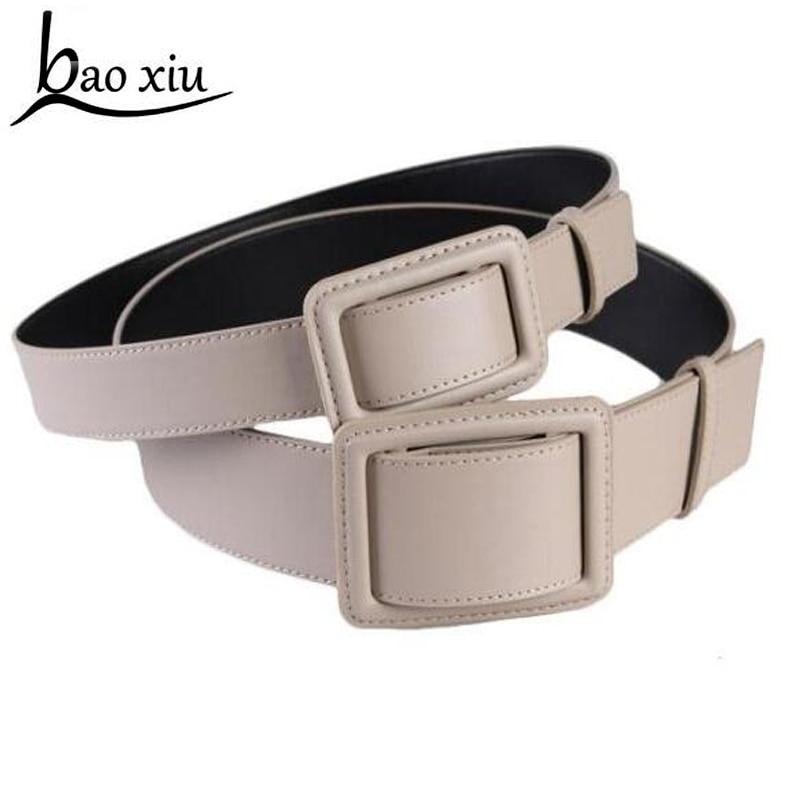 New Hot Women's Long Leather Belt Japanned Leather Belt All-match Gray Big Buckle Punk Belt Wide Adjustable Belt Accessories