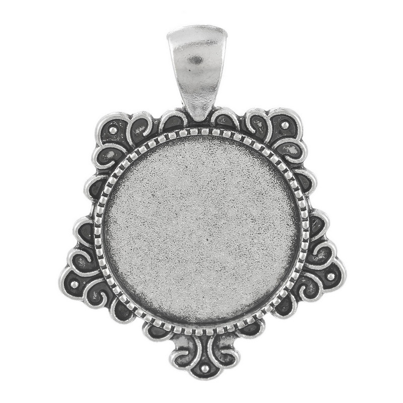 5pcslot Inner Size 20mm Antique Silver Cameo Cabochon Base DIY Jewelry Findings Settings Charms Pendants Trays Accessories