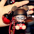 2017 Cute Monchichi Doll KiKi and Leather Rope Small Bell Constitute Keychain Key Rings Holder Women Handbags Car Charm Pendant