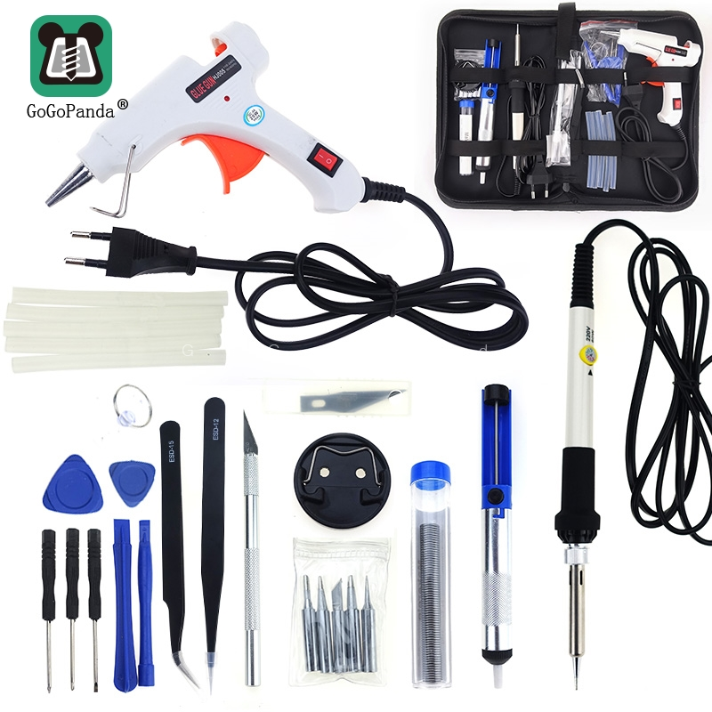 Free Shipping 10 IN 1 Glue Gun Solder Iron Set DIY Repair Tool Professional 240V 20W With Sticks Tweezer Iron Tips Etc.