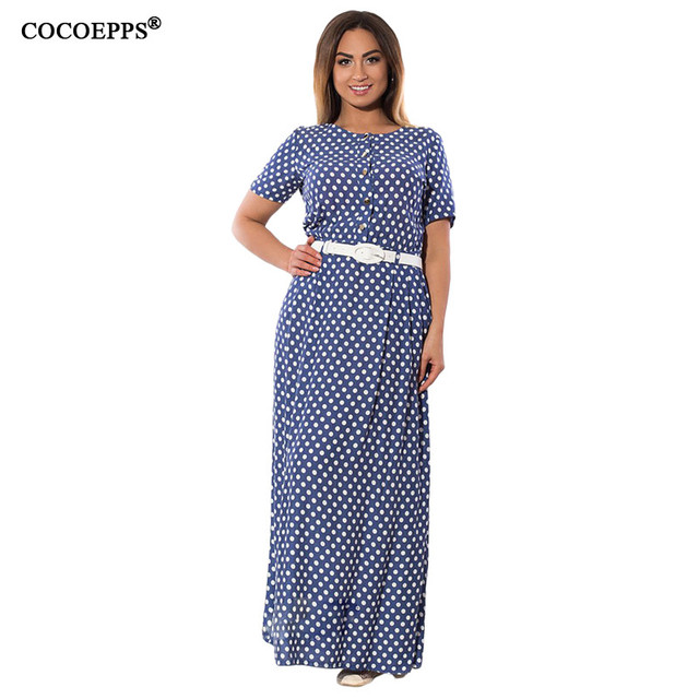 0cd9b9fae Spring Plus Size 5XL 6XL Polka Dot Maxi Dress Long Women Vintage Sashes  Dress Big Large Size 2018 New Floor Length Robe Vestido-in Dresses from  Women s ...