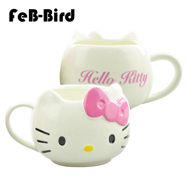 Hot Funny Cat Tea Cups and Coffee Mugs For Home and Office, Hello Kitty Mugs As Christmas Gift For Daughter Girl Friend