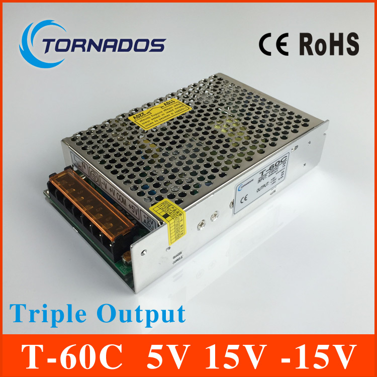 high quality Triple Output switching power supply 60W 5V 6A 15V 2A -15V 0.5A ac to dc power supply T-60C 60w quad output 5v 15v 5 15v switching power supply ac to dc