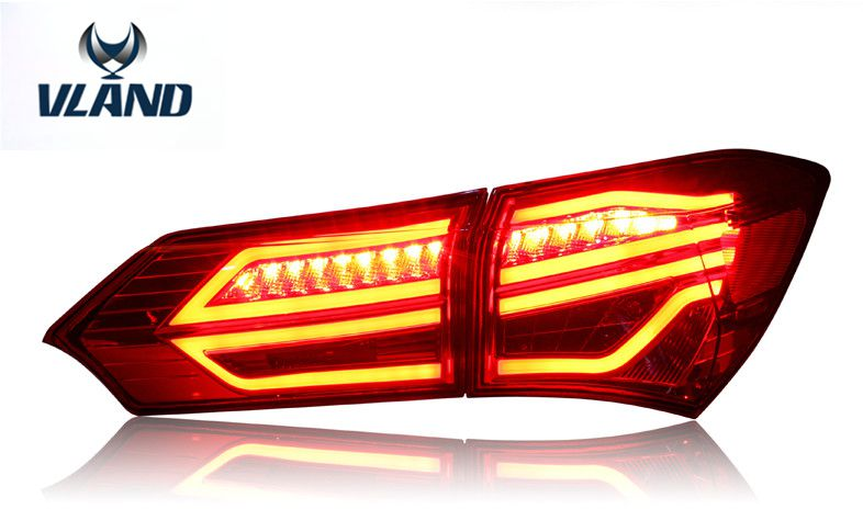 Free shipping for VLAND factory LED Taillight For Corolla TailLight 2014 2015 2016 2017 rear lamp signal+brake+reverse free shipping vland factory for elantra led taillight 2012 2013 2014 2015 led light bar taillamp