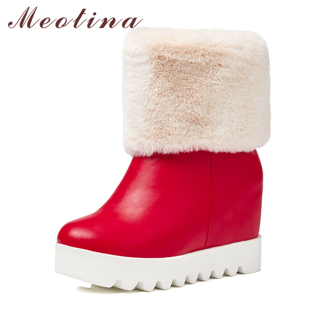 Meotina Platform Boots Winter Women Snow Boots Plush Wedge High Heel Mid Calf Boots Fur Warm Shoes Red White Large Size 42 43 цена