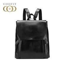 2528e021a6521 Coofit Marque De Mode Casual Sac À Dos Femmes Solide Noir Cartables Pour  Les Élèves Filles PU Sac À Dos En Cuir Flap Sac De Voya.