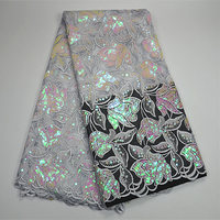 PR335 5 Free Shipping 5yards Pcs Embroidery Sequins Tulle Lace Fabric African French Lace Fabric High