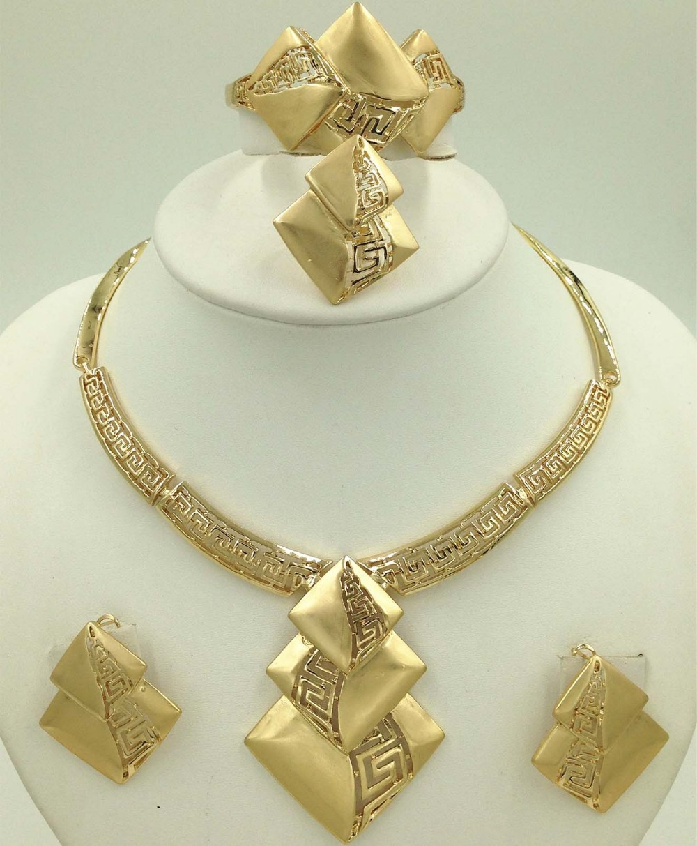 New Fashion Bridal jewelry sets Dubai Gold Plated 18K Costume Big ...