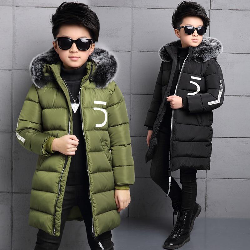 2017 new boy cotton children thicker long coat in the large children's winter cotton padded Korean version