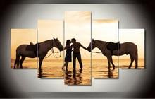 Kůň Couple Hot Canvas Prints Malování Wall Art 5 kusů Home Decor Obrazové panely Plakát pro obývací pokoj rám