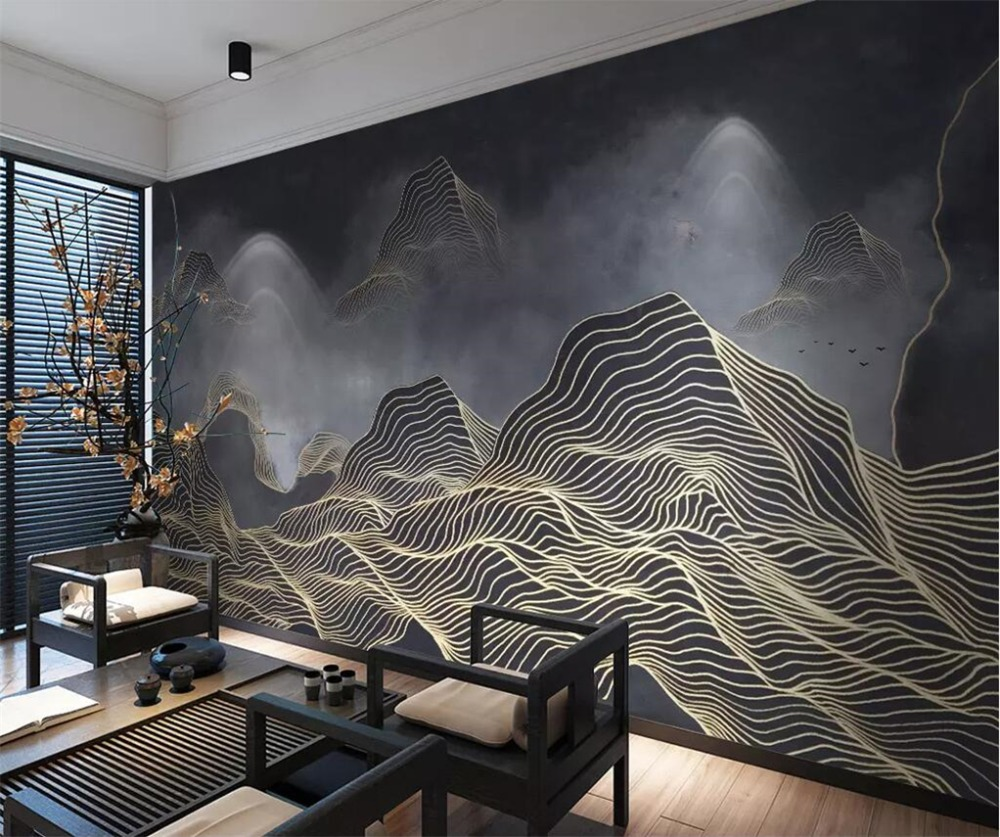 Beibehang Custom Wallpaper 3D New Chinese Abstract Lines