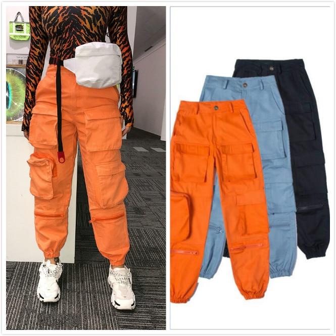 3 Colors Streetwear Multi Pockets Cargo Pants Women Harem Trousers Casual Joggers Female High Waist Loose Slacks Femme Pantalon
