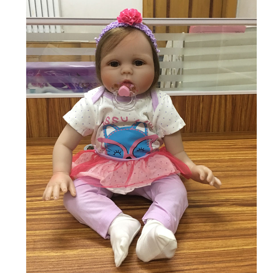 Fashion KEIUMI Fiber Hair Reborn Boneca 55 cm Realistic Soft Silicone Reborn Dolls Babies 22 In Stuffed Doll Girl Birthday Gift keiumi 23 babies girl reborn baby doll full body silicone vinyl realistic 57 cm princess new born boneca reborn boneca gifts