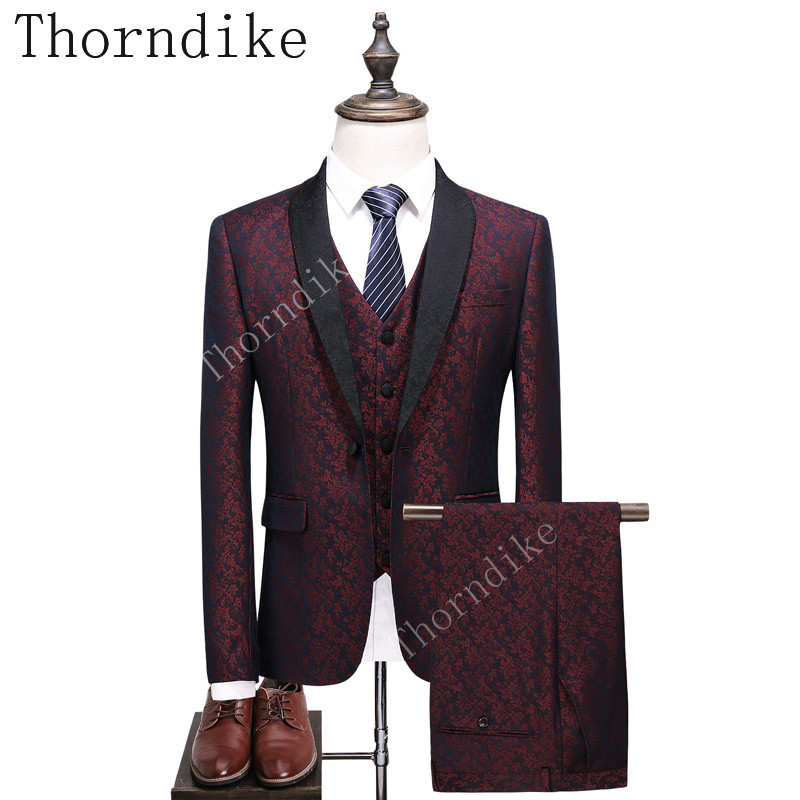 jackets+pants+vest Frank Thorndike New Men Suits Slim Custom Fit Tuxedo Brand Fashion Burgundy Business Dress Wedding Suit Blazer Let Our Commodities Go To The World