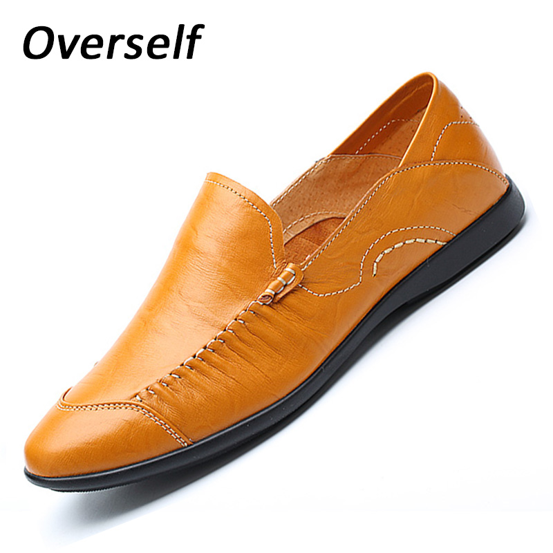 New breathable mens causal shoes leather luxury brand spring loafers slip on flats moccasins for men large size 45 46 EUR