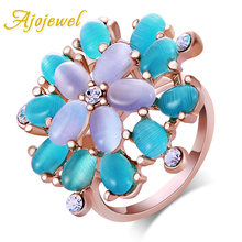 Ajojewel Brand Beautiful Romantic Gold-color Elegant Blue And Purple Opal Flower Ring Women(China)