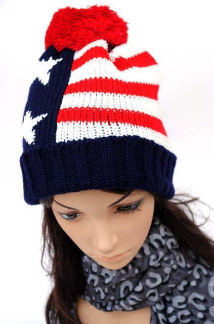 f5bef347851 Online Shop 2018 autumn and winter hat fashion American flag pattern ball knitted  beanie hats for women and caps gorro for men