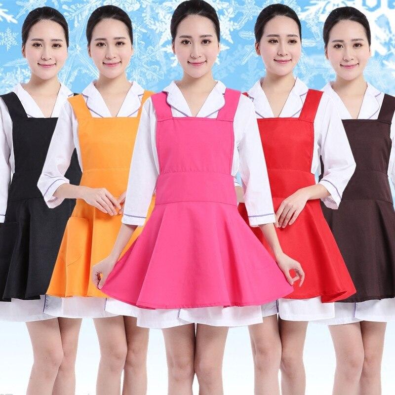 Fashion Beautician Apron Supermarket Restaurant Kitchen Coffee Shop Waitress Apron  Customized LOGO