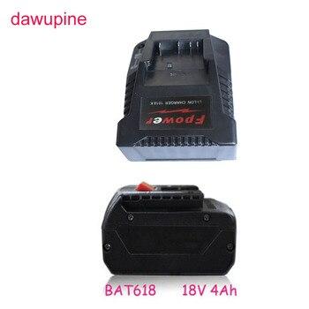 dawupine BAT618 4Ah Li-ion Battery 1018K Charger For Bosch Electrical Drill 18V 14.4V BAT609G BAT618 BAT618G BAT614 2607336236