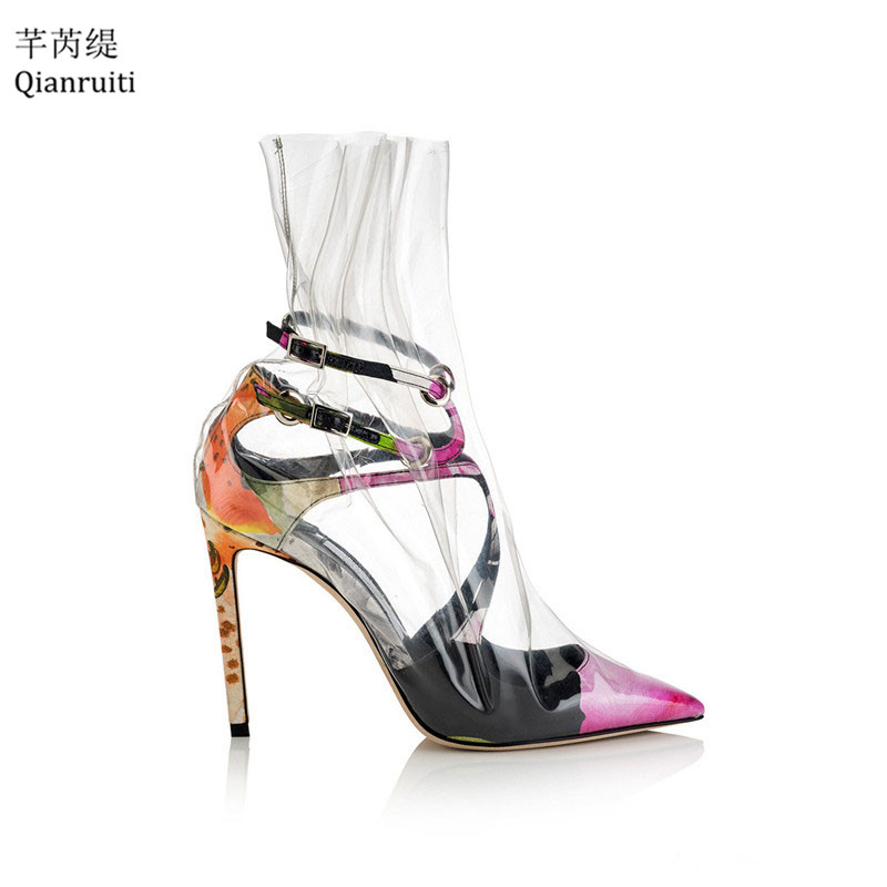 Qianruiti Transparent PVC High Heels Women Sandals Strappy Buckle Pointed Toe Women Pumps Kim Kardashian Style Rain Shoes Woman